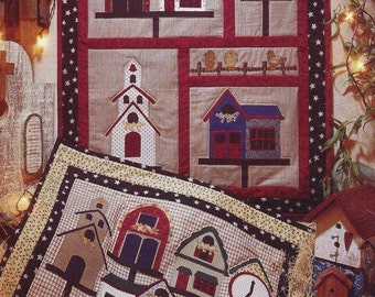 Free Usa Shipping Fiber Mosaics Craft Sewing Pattern 88201 Town without Kitty cat Quilt Out of Print Whimsical Owl Church Clock Birdhouse