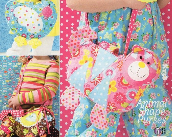Free Us Ship Sewing Pattern Kwik Sew 138 k138  Ellie Mae Designs Animal Shape Purse Bags Purse Tote Bag Handbag Bird Cat Horse  Out of Print