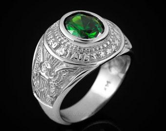 10K White Gold US Army Mens CZ Birthstone Ring. Customizable Stone