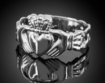 Sterling Silver Claddagh Ring - Mens Celtic Band Irish Claddagh Ring