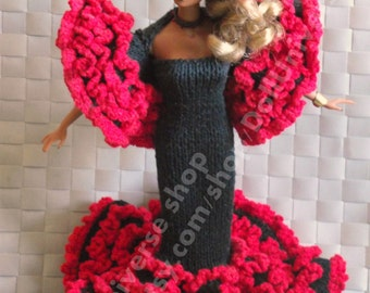 "OOAK Hand Knitted ""Carmen""  dress for Fashion Royalty,barbie Dolls"