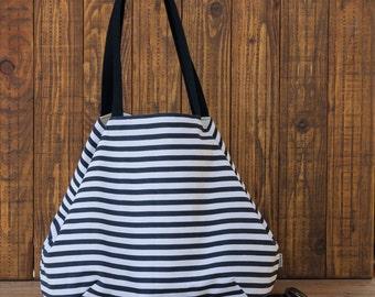 Stripped handbag. Tote bag. Summer bag. Weekend bag. Fabric purse. Beach bag. Diaper bag