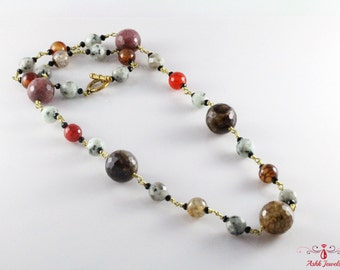 Handmade Fire Agate, Snake Skin, Kiwi Jasper Necklace In Brass Links