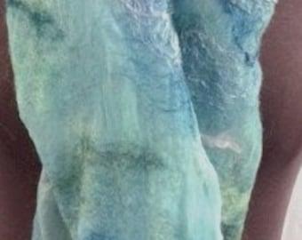 Silk Scarf, Felted Silk Scarf, Nuno Felted scarf, Lightweight, Lt Blue, Wool & Silk, Giftsforher, Graceful Ewe Fiber Arts, Garden of the Sea