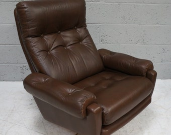Vintage Dark Brown Leather Swivel Arm Chair