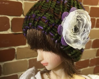 Green/purple MSD knitted cap