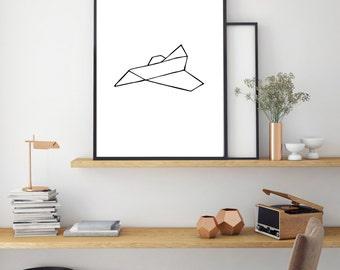Paper Plane Print, Digital Print, Minimal Animal Art, Modern Wall Poster, Abstract Art, Modern Black And White Print