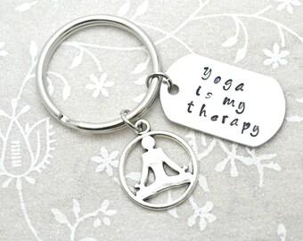 Yoga Keychain, Mantra Keychain, Yoga Gift, Yoga Accessory, Health Keychain, Fitness Keychain, Meditate Keychain, Hipster Keychain, Keychain
