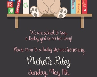 Baby Shower Teddy Bear Invitation, Bookshelf, New Baby Invite, Party Invitation, Birth Announcement, Original Digital Design IV1451
