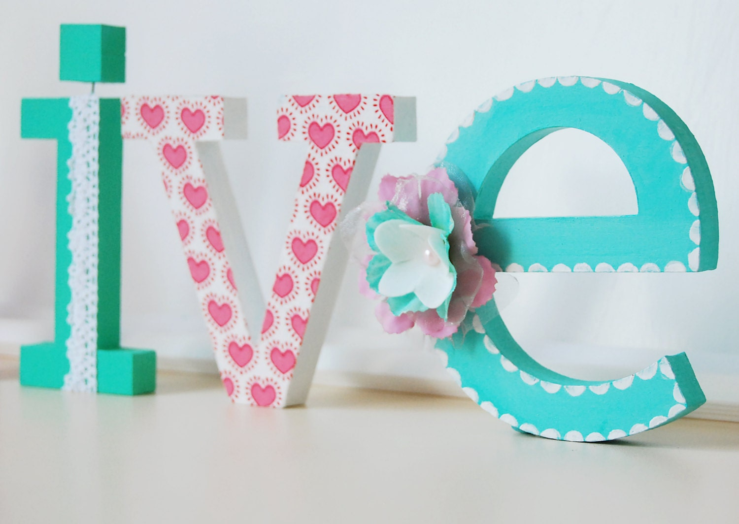 Standing letter name hand painted and decorated wooden for Standing wood letters to paint