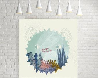Minimal wall art, minimal art print, home wall art, modern print, home decor, nautical print, Kunstdruck kunst, square prints, minimalist