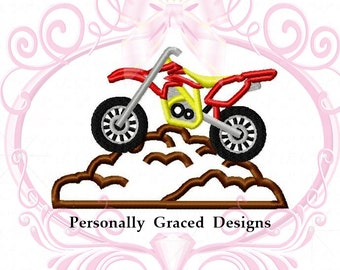 Dirt Bike on Dirt Mound 5 Sizes 3in, 4in, 5in, 6in, 7in 4x4, 5x7, 6x10 Hoop, Bike Applique Machine Embroidery Applique Design Transportation