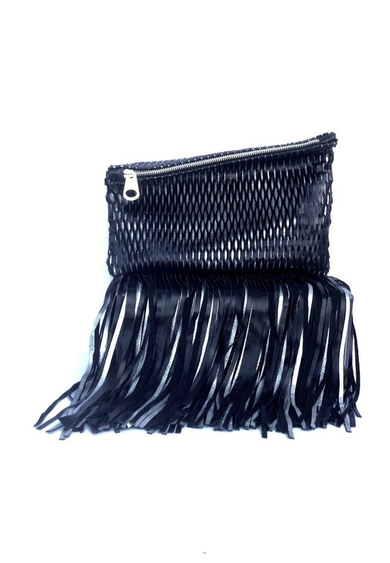 Trendy Leather Clutch with Fringes Black Leather Net Silver Envelop Small Medium Special Evening OLA Olaccessories Free Shipping