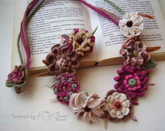 Floral crochet necklace, Boho crochet choker, Multicolor necklace, Irish crochet, Bohemian style necklace, Beaded necklace, Colorful crochet