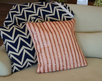 "DECORATIVE PILLOWS//CUSHION cOVERS//Sequin cushions//peach cushions//coral cushions//18""x 18"" cushions//cushions of sofa// Throw pillows//"