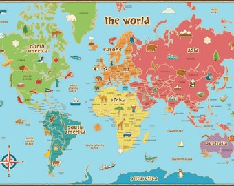 Kids World Map - Dry Erase, Wall Decal, LARGE, 36 x 24