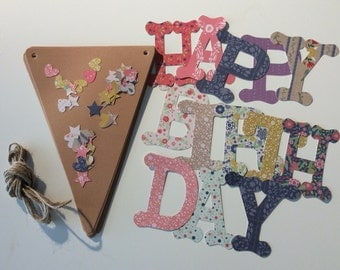 DIY - Rustic floral Happy Birthday Bunting kit