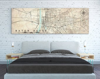 BATON ROUGE LA Canvas Print Louisiana Baton Rouge Vintage map City Horizontal Extra Large Wall Art Vintage Decor Gift poster antique map