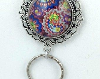 Jewel-tone Paisley Magnetic ID Badge Eyeglass Holder