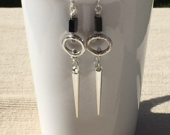 Hemalyke  and Silver Cone Spike Dangle Earrings