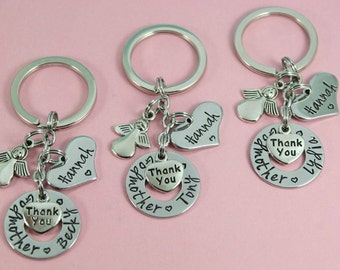 Personalised Godparent Gift | Godmother/Godfather/Guide Parent | Key Chain/KeyRing With God Child's Name | Christening Gift | Naming Day