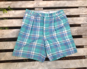 90's Mens Golf Plaid Pleated Shorts