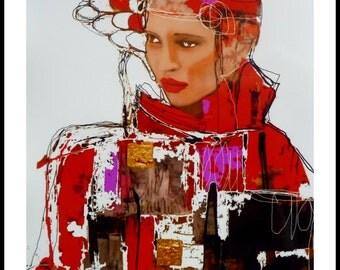 Print art-Portrait woman-Art print - 20 x 30 cm-paper quality-210 gr - signed by the artist.
