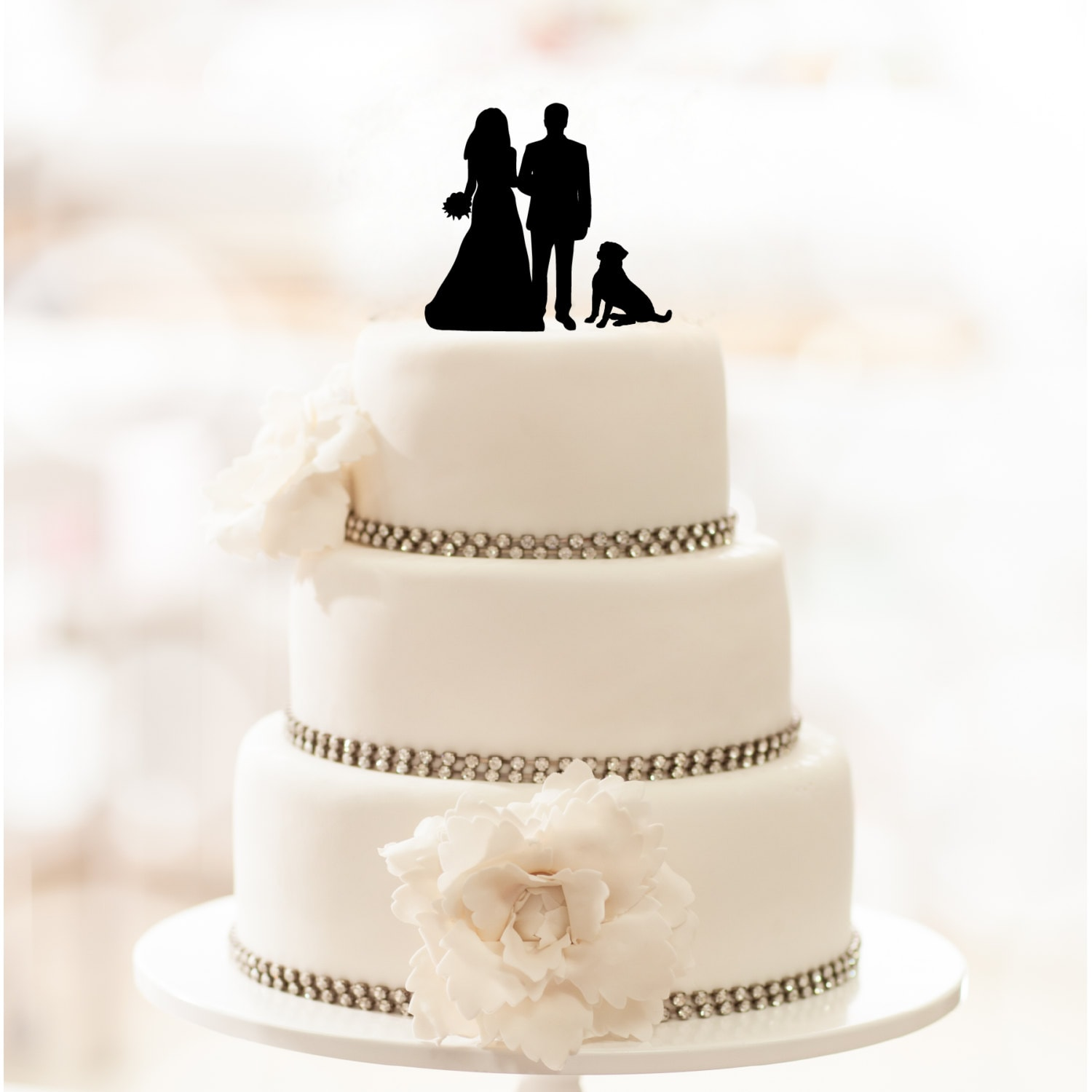 Wedding Couple Silhouette With Dog Acrylic Cake Topper 24
