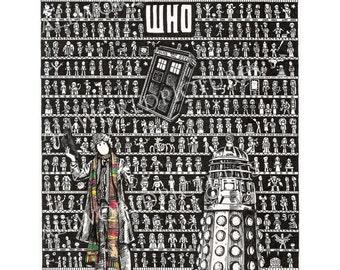 Doctor Who Art, Doctor Who Gift, Doctor Who present, Movie Fan Art, Hand Drawn Art, Science Fiction Art, Doctor Who Poster, Tardis Art