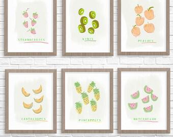 Summer Fruit Art Print Set (6) , Gallery Wall Decor, Kitchen Wall Decor, Summer Fruit Print Set, Summer Fruit Prints, Gallery Wall Decor