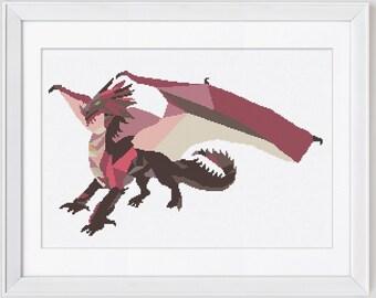 Dragon cross stitch pattern, dragon counted cross stitch pattern, dragon pdf pattern