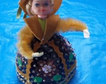 Pinflair Sequin Bead Doll Hand Made From 1970's Jewel Emerald Kit FREE SHIPPING