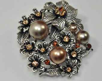 Champagne and Pewter Flower Brooch /499