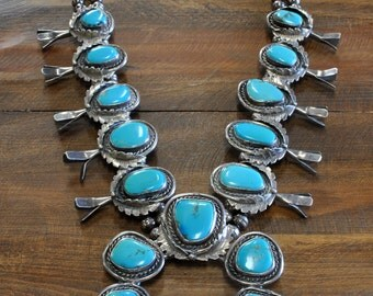Vintage Navajo Sterling Silver And Turquoise Squash Blossom Necklace - Huge!
