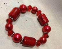 C. Red Jasper Stretch Bracelet, Large Red Stones Beaded Bracelet 9950-109