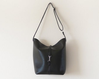 Large leather bucket tote bag