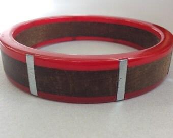 Rare Bakelite Wood Metal Bangle Bracelet