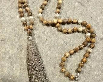 Boho tassel necklace,boho necklace ,long necklace,layering necklace,picture jasper necklace