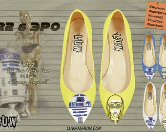 R2 & 3PO - humanoid robot, R2D2, C-3PO, astromech droid, star wars, robot shoes, handpainted, pointed toe flats, custom design shoes