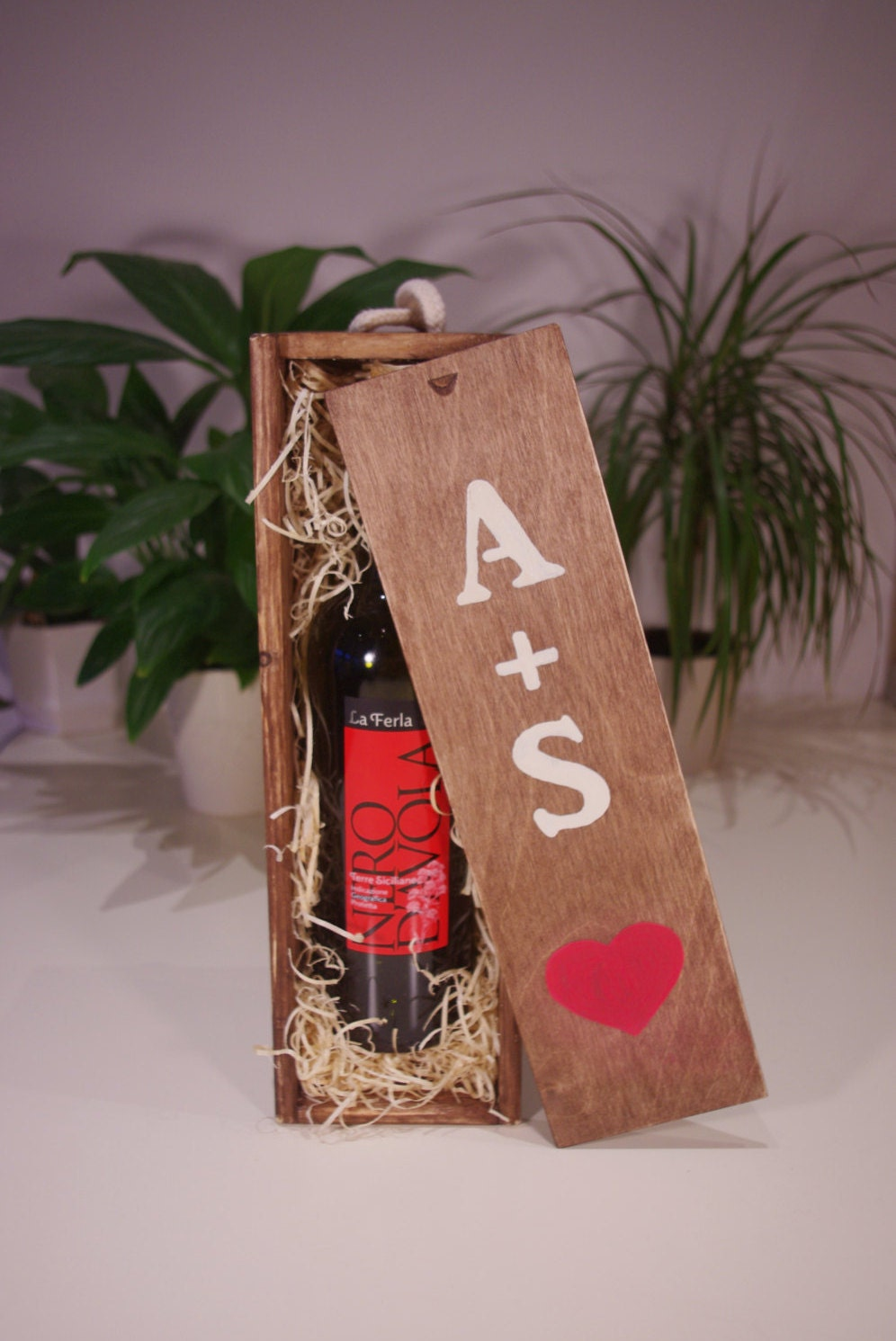 Wooden anniversary gift for couple wine box personalized for Gift for anniversary for couple