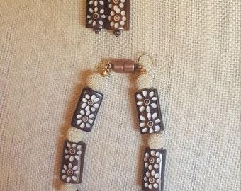 Wooden rectangular bead bracelet and earring set