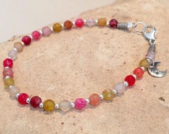 Multicolored bracelet, agate bracelet, charm bracelet, sterling silver bracelet, Hill Tribe silver bracelet, moon charm, gift for her