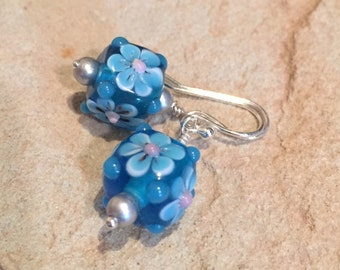 Blue lampwork glass drop earrings, dangle earrings, sterling silver drop earrings, blue dangle earrings, lampwork glass earrings