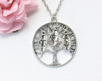 Family Tree Initial Necklace, Family Necklace, family tree, tree jewelry, Mothers Necklace, Tree Leaves Necklace, Hand Stamped necklace