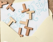 "100 Wood Letter T - 1"" - Wooden Alphabet Letters - Birthday Party Table Decorations"