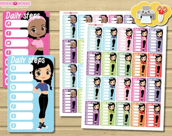 Chibi Steps Weekly Tracker. Chics for your Side Bar, Planner stickers set for Erin condren and ...