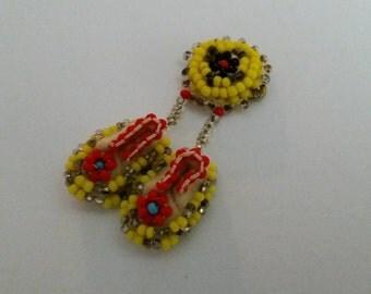 Vintage Native American Beaded Pin/Winnebago Tribe 1960's