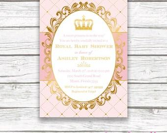 princess baby shower invitation blush pink and gold foil princess