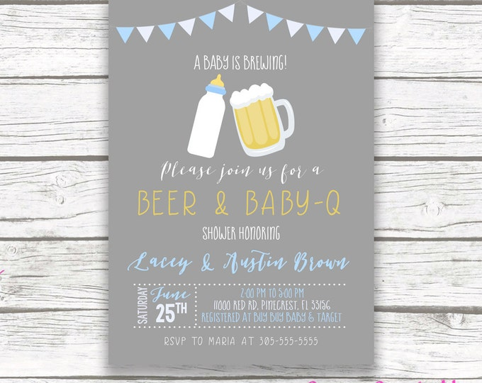 Baby Q Invitation, Couples Shower Invitation, Barbecue BBQ Baby Shower Invitation, BBQ Invite Boy, Beer and Baby Q Printable Invitation
