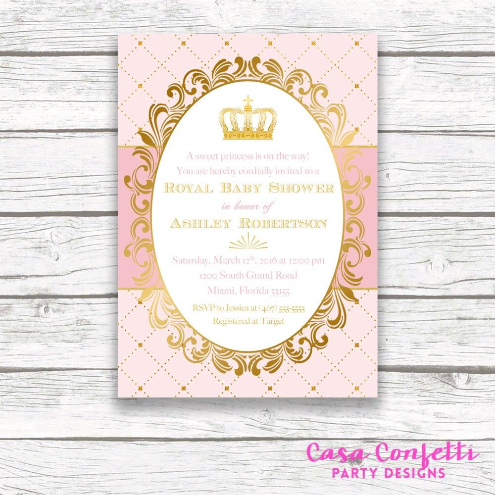 Princess Baby Shower Invitation, Royal Baby Shower Invitation ...